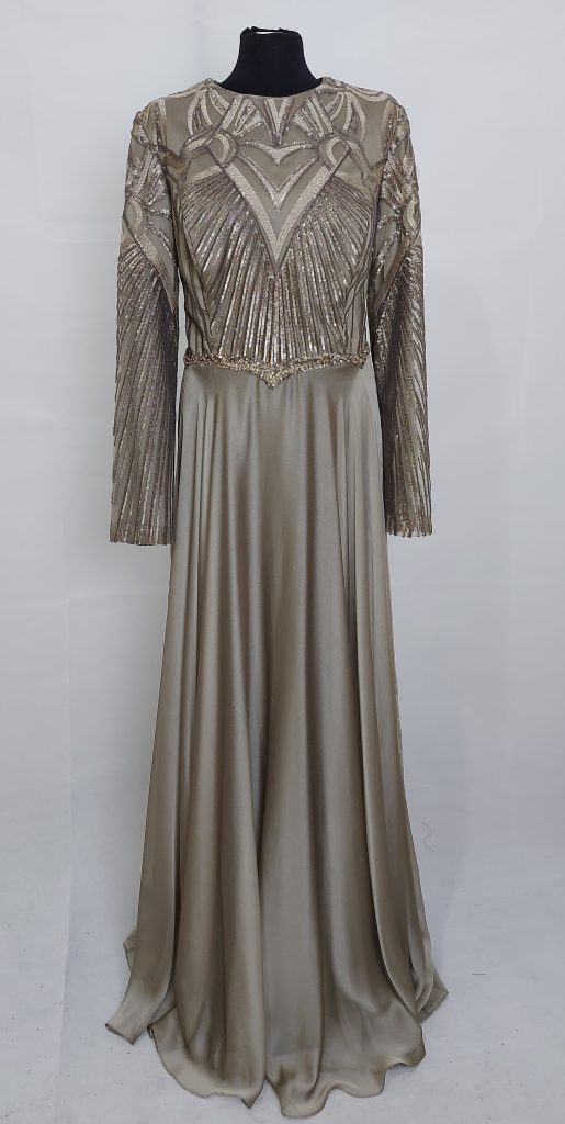 שמלה זהוב זית ארוכה