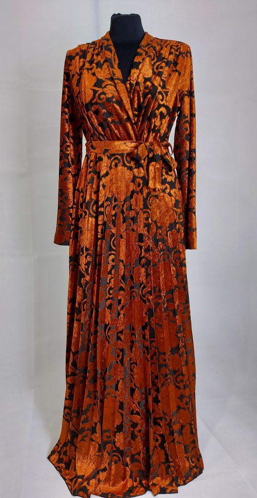 שמלת מעטפת עיטורי קטיפה